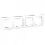 Cover Frame Unica Basic, White, 4 gangs