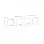 Cover Frame Unica Quadro, White, 4 gangs