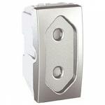 Euroamerican Socket-outlet 10 A, 2P, shuttered, Aluminium