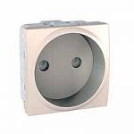 Euroamerican Socket-outlet 10/16 A, 2P, shuttered, Ivory