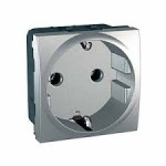 SCHUKO® Socket-outlet 10/16 A, 2P+E, Aluminium