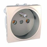 SCHUKO® Socket-outlet 10/16 A, 2P+E, shuttered, with lamp, Ivory