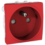 French Socket-outlet 10/16 A, 2P+E, shuttered, Red