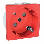 SCHUKO® Socket-outlet, 45° 10/16 A, 2P+E, shuttered, Red
