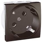 SCHUKO® Socket-outlet, 45° 10/16 A, 2P+E, shuttered, Graphite