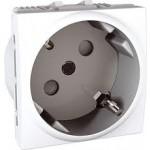 SCHUKO® Socket-outlet, 45° 10/16 A, 2P+E, shuttered, White