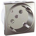 SCHUKO® Socket-outlet, 45° 10/16 A, 2P+E, shuttered, Aluminium