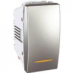 Two-way Switch, 1 module 10 AX, with amber indicator lamp, Aluminium
