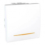 One-way Switch 10 AX, 2 modules, with amber indicator lamp, White