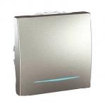One-way Switch 10 AX, 2 modules, with locator lamp, Aluminium