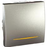 One-way Switch 10 AX, 2 modules, with amber indicator lamp, Aluminium
