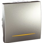 Two-way Switch 10 AX, 2 modules, with amber indicator lamp, Aluminium