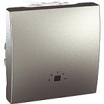 Push-button 10 A, 2 modules, with light symbol, Aluminium