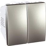 Double two-way Switch, 10 AX, 2 modules, Aluminium