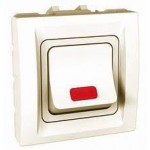 High rating double pole one-way Switch, 32 AX, 2 modules, with amber indicator lamp, Ivory