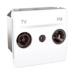 TV/FM Terminal Socket for series distribution systems, 2 modules, White