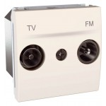 TV/FM Intermediate Socket for series distribution systems, 2 modules, Ivory