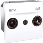 R-TV/SAT Individual Socket for parallel distribution systems, 2 modules, White