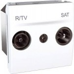 R-TV/SAT Terminal Socket for series distribution systems, 2 modules, White