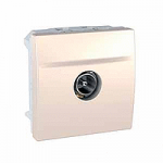 TV single shielded male Individual Socket, 2 modules, Ivory
