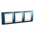 Cover Frame Unica Plus, Glacier blue/Ivory, 3 gangs