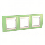Cover Frame Unica Plus, Apple green/Ivory, 3 gangs