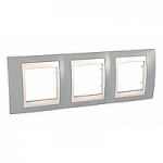 Cover Frame Unica Plus, Mist grey/Ivory, 3 gangs