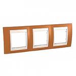 Cover Frame Unica Plus, Orange/Ivory, 3 gangs