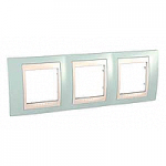 Cover Frame Unica Plus, Water green/Ivory, 3 gangs