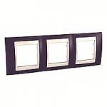 Cover Frame Unica Plus, Garnet/Ivory, 3 gangs
