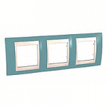 Cover Frame Unica Plus, Maganese blue/Ivory, 3 gangs