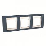 Cover Frame Unica Plus, Slate grey/Ivory, 3 gangs