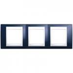 Cover Frame Unica Plus, Indigo blue/White, 3 gangs