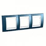 Cover Frame Unica Plus, Glacier blue/White, 3 gangs