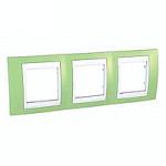 Cover Frame Unica Plus, Apple green/White, 3 gangs