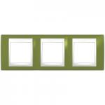 Cover Frame Unica Plus, Pistachio/White, 3 gangs