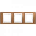 Cover Frame Unica Plus, Orange/White, 3 gangs