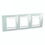 Cover Frame Unica Plus, Water green/White, 3 gangs