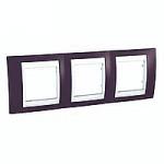 Cover Frame Unica Plus, Garnet/White, 3 gangs