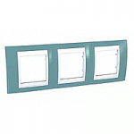 Cover Frame Unica Plus, Maganese blue/White, 3 gangs