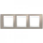 Cover Frame Unica Plus, Mink/White, 3 gangs