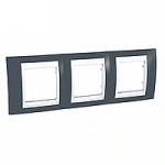 Cover Frame Unica Plus, Slate grey/White, 3 gangs
