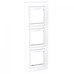 Cover Frame Unica Plus, White/White, 3 gangs