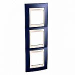 Cover Frame Unica Plus, Indigo blue/Ivory, 3 gangs