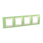 Cover Frame Unica Plus, Apple green/Ivory, 4 gangs