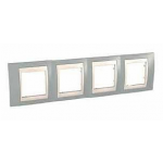 Cover Frame Unica Plus, Mist grey/Ivory, 4 gangs