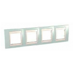 Cover Frame Unica Plus, Water green/Ivory, 4 gangs