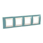 Cover Frame Unica Plus, Maganese blue/Ivory, 4 gangs