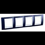 Cover Frame Unica Plus, Indigo blue/White, 4 gangs