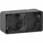 Mureva Styl - surface mounted box - 2 gangs horizontal- grey